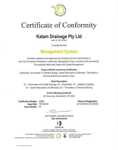 Certificate of Conformity for Katam Drainage.