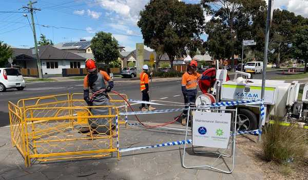 Katam Drainage staff jetting to clean a public drain in Melbourne.