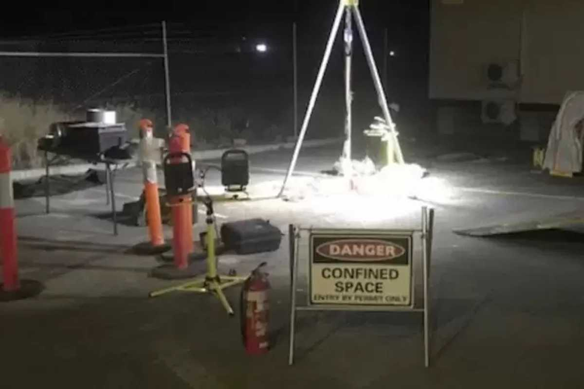Emergency rehabilitation and confined space work of a drain.